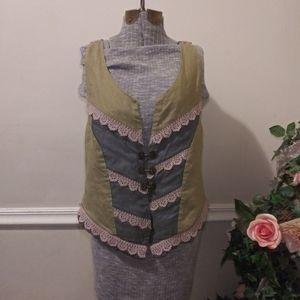 ❤VGUC BKE Mixed Media Linen Metal Clasp Vest